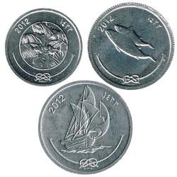 Maldivas 2012 3 valores (1,5 y 10 Laari) S/C