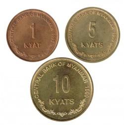 Myanmar 1999 3 valores (1,5 y 10 Kyats) S/C