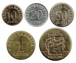 Estonia 1994 - 2007 5 valores (10,20,50 Senti 1 y 5 Coronas) S/C
