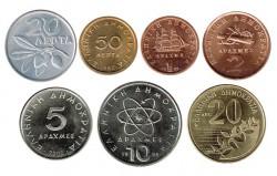 Grecia 1973 -2000 7 valores (20 y 50 Lepta, 1,2,5,10 y 20 Dracmas) S/C