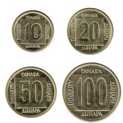Yugoslavia 1988- 1989 4 valores (10,20,50 y 100 dinares) S/C