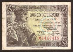 1 Peseta 1943 Fernando el Católico. MBC