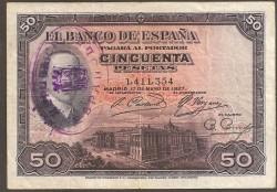 50 Ptas 1927 Alfonso XIII MBC Resello República
