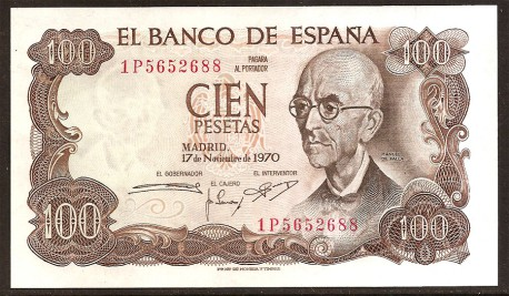 100 Pesetas 1970 Manuel de Falla S/C