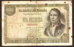 1,000 Pesetas 1949 Pick 138 Poor
