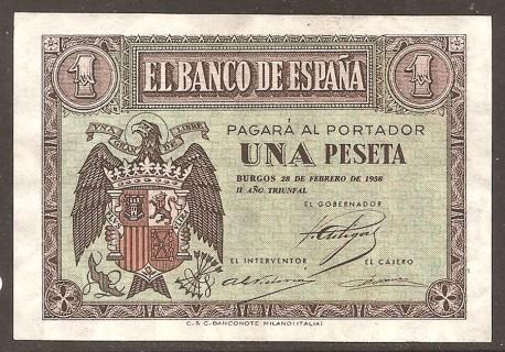 1 Peseta Febrero 1938 Burgos. Águila. EBC