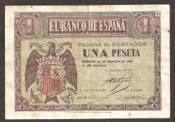 1 Peseta Febrero 1938 Burgos. Águila. MBC