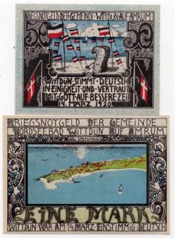 Wittdüm 50 Pfennig y 1 Marco (14-03-1920) KL 1403b S/C-