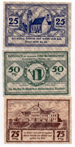 Wörishofen 25, 50 y 75 Pfennig (1.921) KL 1411 S/C-