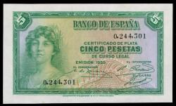 5 Ptas 1935 República (Sin Serie) S/C-
