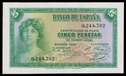5 Ptas 1935 República (Sin Serie) S/C