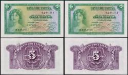 5 Ptas 1935 República Pareja (Sin Serie) S/C-