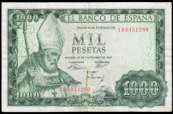 1000 Pesetas 1965 San Isidoro MBC+