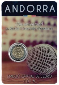Andorra 2016 2 Euros. 25 Aniversario Radio y Televisión de Andorra S/C