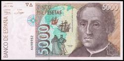 5000 Pesetas 1992 Cristóbal Colón. Sin Serie. S/C