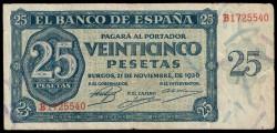 25 Pesetas 1936 Burgos. Pick 99. VF