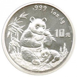 China 10 Yuan 1996 1 Onza Plata Oso Panda S/C-