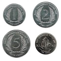 Est. Caribeños del Este 2004 - 2008 4 valores (1,2,5 y 10 Centavos.) S/C