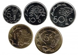 Namibia 2010 - 2012 5 valores (5,10 y 50 Cent. 1 y 5 Dólares) S/C