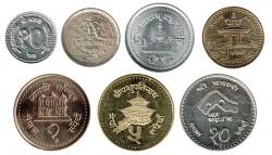 Nepal 1996 - 2004 7 valores (10,25 y 50 Paisa. 1,2,5 y 10 Rupias) S/C