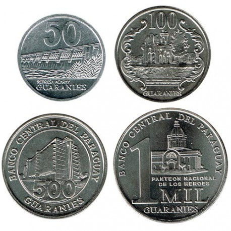 Paraguay 2007-2014 4 valores (50,100,500 y 1000 guaraníes) S/C