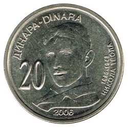 Serbia 2006 20 Dinares (Nikola Tesla) S/C