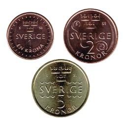 Suecia 2016 3 valores (1,2 y 5 Coronas.) S/C