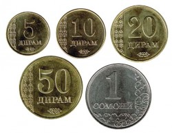 Tajikistán 2011 Tira 5 valores (5,10,20 y 50 Dirams. 1 Somoni) S/C