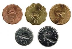 Tanzania 1979 -1992 5 valores (5,10,20,50 senti y 1 Shillingi) S/C