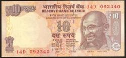India 10 Rupias PK 102c (2.011) S/C