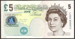 England 5 Pounds PK 391d (2004) UNC