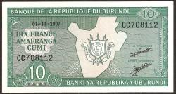Burundi 10 Francos PK 33e (01-11-2.007) S/C