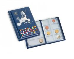 Álbum de bolsillo con 2 hojas para 2 series compl. de monedas de euro de curso legal,azul