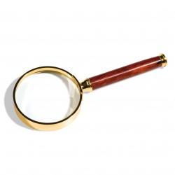 Lupa con mango y lente de cristal, borde metálico dorado, 3aumentos, Ø 50 mm