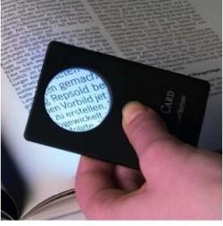 Lupa formato tarjeta, 3 aumentos, incl. lámpara-LED blanca