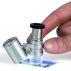 Microscopio de bolsillo MINISCOPE con 20 aumentos, LED y UVnd UV
