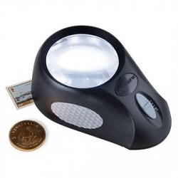 Lupa estática de 5 aumentos, 6 LEDs, 3 niveles de iluminación