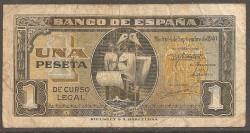 1 Peseta 1940 Carabela Santa Maria. BC Sin Serie