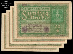 10 x Germany 50 Mark Pick 66 (24-06-1919) VF+