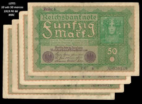LOTE 10 Billetes Alemania 50 Marcos PK 66 (24-06-1.919) MBC