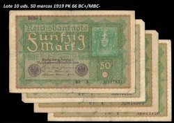LOTE 10 Billetes Alemania 50 Marcos PK 66 (24-06-1.919) BC+ MBC-
