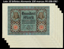 10 x Germany 100 Mark PK 69b (1-11-1.920) VF-EF (stain)