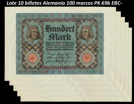 Lote 10 Billetes Alemania 100 Marcos PK 69b (1-11-1.920) EBC- (manchas)
