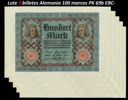 LOTE 5 Billetes Alemania 100 Marcos PK 69b (1-11-1.920) EBC- (manchas)