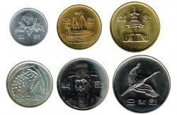 Corea del Sur 1983 - 2012 6 valores: 1,5 (MBC+),10,50,100 y 500 Won S/C