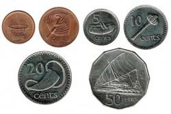 Fiji 1990-1992 6 valores (1,2,5,10,20 y 50 Centavos) EBC