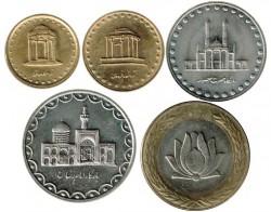 Irán 1992 - 1993 5 valores (5,10,50,100 y 250 Rials) EBC