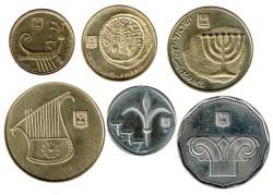 Israel 1988-1997 6 valores (1,5 y 10 Agorot 1/2 y 1 Nuevos Séqueles) EBC