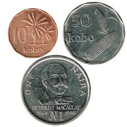Nigeria 1991 3 valores (10 y 50 Kobo. 1 Naira) S/C-