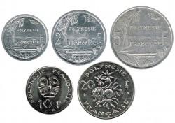 Polinesia Francesa 2000-2003 5 valores :1,2,5 (EBC),10 y 20 Francos S/C